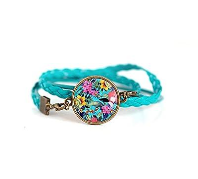 Bracelet double tresse turquoise, Cabochon Tropiques, jungle, multicouleur, exotique