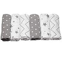 Bloomsbury Mill - Pack of 6 x Super Soft Muslin Squares - 100% Pure Cotton Muslin - Stars, Chevrons & Polka Dots Designs - Grey & White - 70cm x 70cm