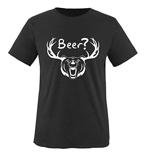 Bären Custom Schwarz T-shirt (Comedy Shirts - Beer? - BÄR GEWEIH - Herren T-Shirt - Schwarz / Weiss Gr. 4XL)