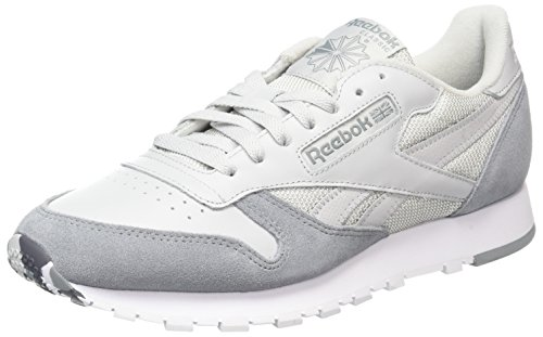 Reebok CL Leather Mo, Scarpe Sportive Uomo Grigio (Skull Grey/tin Grey/white/ash Grey/primal Red)