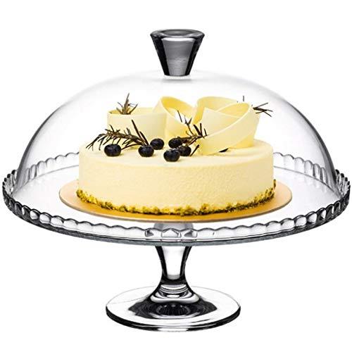 PETAAA Hohe Glasschale Mit Kuppel, Lebensmittelkonservierung Abdeckung Kuchen Brot Kuppel Dessert Shop Hochzeit Servierstand Durchmesser 32 cm (Size : 32 * 32 * 25.8CM) (Glas-kuppel, Kuchen-abdeckung)