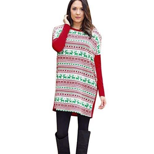 Soupliebe Frauen Beiläufiges Weihnachtsdruck Kleid Damen Langes Hülsen Weihnachtsminikleid Abendkleider Cocktailkleid Partykleider Blusenkleid