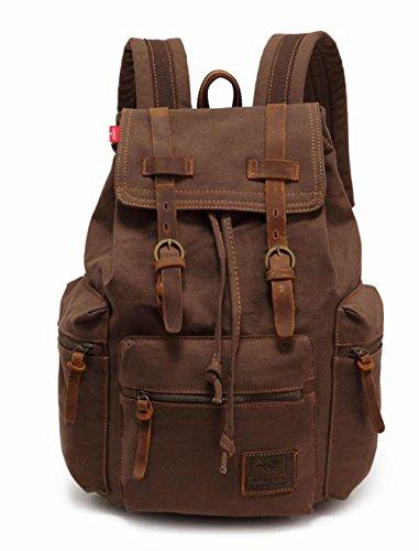 94efb8c3e178d Alando vintage Canvas Rucksack Damen Herren Rucksack Cityrucksack Retro  Schulrucksack Backpack Daypack für Uni