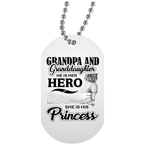 Enkelin Dog Tag, Opa und Enkelin, ER IST IHR Hero, Sie ist seine Prinzessin–Militärische Erkennungsmarke, Aluminium ID Tag Halskette, einzigartiges Geschenk Idee für Geburtstag, Opa Enkelkinder, Enkelkind