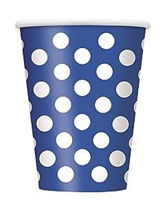 Unique Party Paquete de 6 vasos de papel a lunares Color azul rey 37506