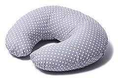 Idea Regalo - Niimo® Cuscino allattamento Neonato + Federa 100% Cotone Sfoderabile e Lavabile con Zip a Scomparsa| Facilita L'allattamento al seno o con il Biberon| Versatile (Grigio-Pois Bianco)