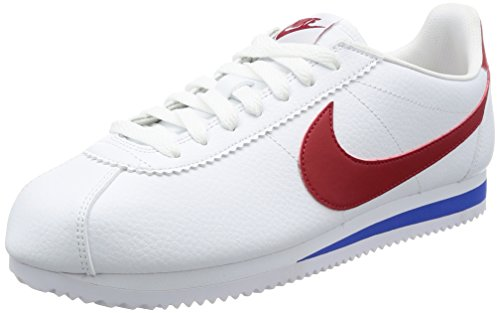Nike Classic Cortez Leather, Zapatillas para Hombre, Blanco (White Red-Varsity Royal 154), 40.5 EU