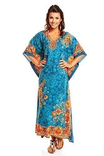 Neu Damen Überdimensional Maxi Kimono Kaftan Tunika Kaftan Damen Top Freie Größe - Türkis, 52-54 (Afrikanischer Kaftan)