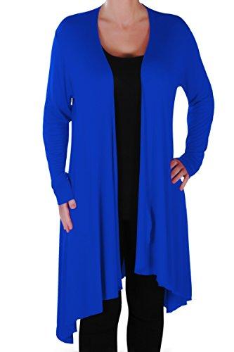 EyeCatch Plus - Della Asymmetrische Damen Freizeit Wasserfall Cardi Frauen Jersey Wrap Shrug Öffnen Strickjacke -