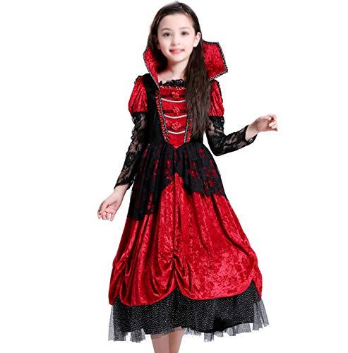 Stadt Joker Party Kostüm - GHDTGS Mädchen Vampir Skelett Dämon Tödliches Kostüm Halloween Party Cosplay Outfit Für Kinder,S