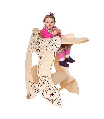 Hochstuhl Spieltisch (TRIHORSE ® Baby Kinderhochstuhl 3 in 1 Hochstuhl, Schaukelpferd, Spieltisch)