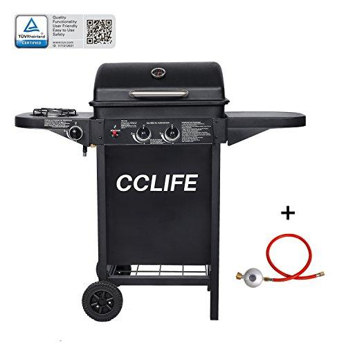 CCLIFE Gasgrill Grillwagen Gas Grill Barbecue Toronto Grill 2 Brenner mit Zubehör TÜV geprüft, Größe:2+1 Schwarz mit Zubehör