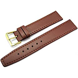 Light Brown Tan Leather Watch Strap Band 18mm