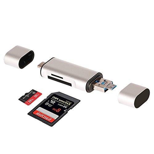 Lettore di schede SD TF con adattatore 3 in 1 USB a/Micro USB/USB di tipo C, C Super Speed Memory Card Reader USB lettore di schede per Micro SD/TF (Argento)