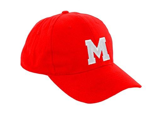 Preisvergleich Produktbild Unisex Jungen Mädchen Mütze Baseball Cap ROT Hut Kinder Kappe Alphabet A-Z Morefaz TM (M)