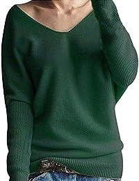 Yvelands Moda Mujer Invierno Manga Batwing Sólido de Punto Suéter Suéter Tops Blusa