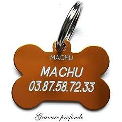 MACHU - Medaille Chien os pour Grand/Moyen Chien - Couleur Orange - 3,8 cm X 2,5 cm - Gravure Offerte.