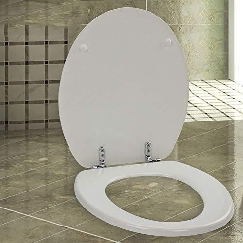 WC-Sitze O-Form-WC-Deckel Mit Ultra-beständiger Unterseite Feste Verdickte Massivholz-WC-Abdeckung 42~47cm * 37cm