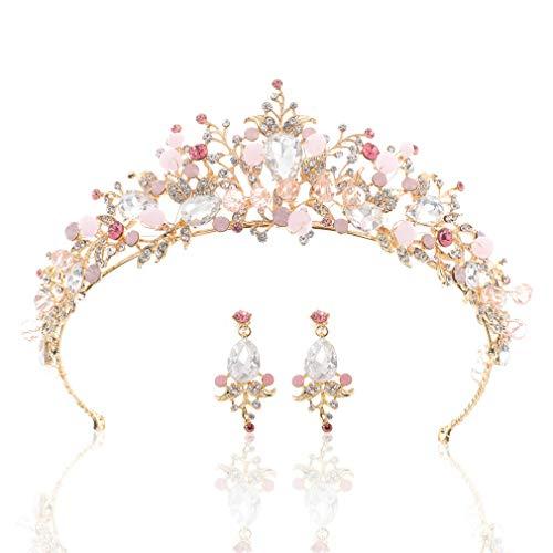 handcess Pink Hochzeit Krone Brautschmuck Krone Tiara Strass Kristall Haarband Barock Brautschmuck Kopfbedeckung mit Ohrringe