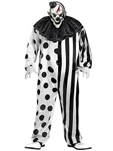 Horror Clown Halloween Kostüm schwarz/weiß - XL