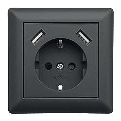 230 V Schutzkontakt Schuko Wandsteckdose USB Steckdose Unterputz 2 x USB Ladegeräte passend für Gira System 55 E2 Anthrazit (Grau) TÜV Rheinland geprüft (1. Einfachsteckdose)