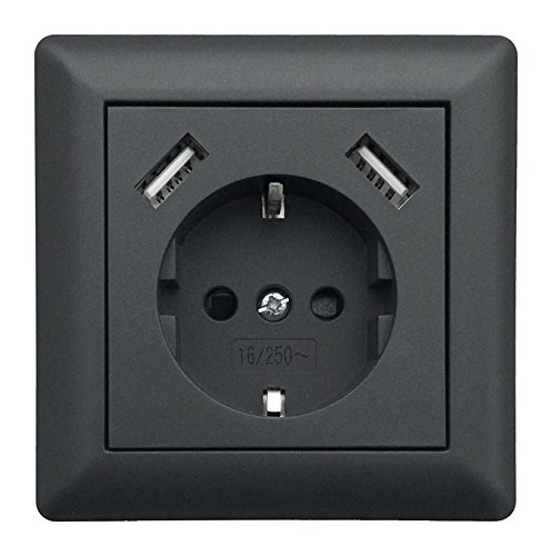 230 V Schutzkontakt Schuko Wandsteckdose USB Steckdose Unterputz 2 x USB Ladegeräte passend für Gira System 55 E2 Anthrazit (Grau) TÜV geprüft (1. Einfachsteckdose) (Passend Grau)