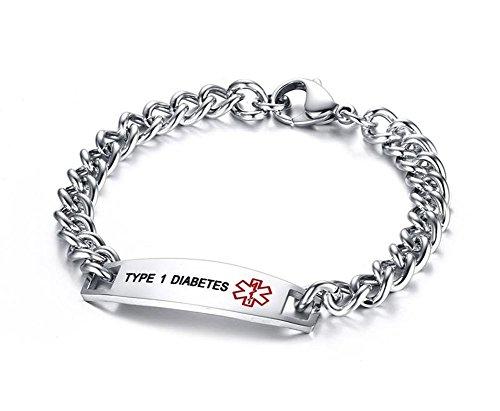 Vnox Herren Damen Edelstahl TYP 1 DIABETES Gravierte Medizinische Alert ID Armband Silber,21,5 cm (Typ-1-diabetes-schmuck)