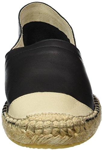 Pieces Pskatie Leather Espadrillos Blk/creme, Espadrilles femme Noir - Noir
