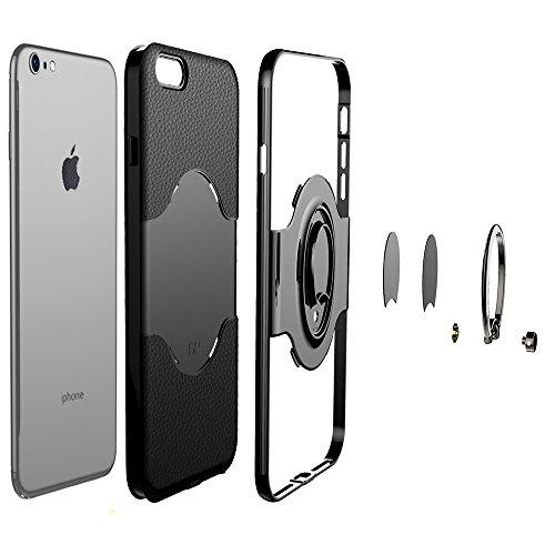 """iPhone 6 Plus/6s Plus Ring Stand Coque, SHANGRUN TPU Gel Silicone Métal Rotation Intégrée Bague de Serrage Support Case Coque avec Béquille Housse Étui pour iPhone 6 Plus/6s Plus 5.5"""" Blanc Noir"""