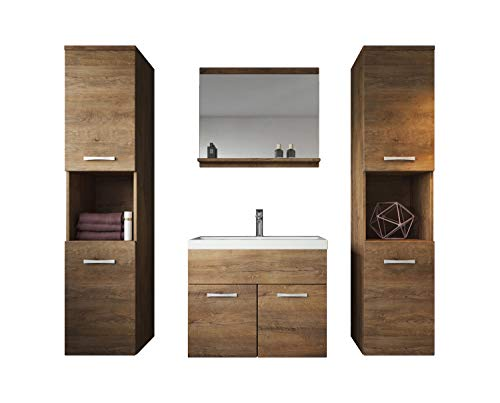 Badplaats B.V. Badezimmer Badmöbel Set Montreal XL 60 cm Waschbecken Lefkas - Unterschrank Hochschrank Waschtisch Möbel