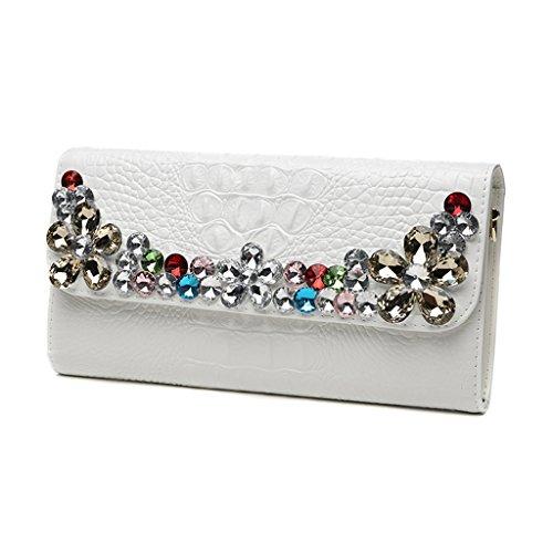 Home Monopoly Borsa a tracolla calda borsa a mano delle frizioni delle borse della festa / con la cinghia di polso, cinghia di spalla ( Colore : Bianca ) Bianca