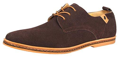 iLoveSIA Herren Schnürhalbschuhe Leder Schuhe Wildleder Klassiker Oxfords Braun DE 44=Herstellergröße 45