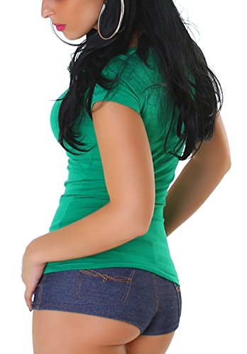 Jela London Damen Basic T-Shirt Slim-Fit Rundhals/V-Ausschnitt Longshirt Kurzarm Einfarbig Green (V-Ausschnitt)