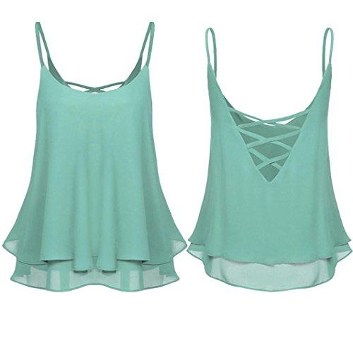 OSYARD Damen Sommer Shirt Sleeveless Weste Tank Casual Tops Bluse(EU 46 / XL, Grün)