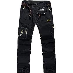 GITVIENAR Pantalon d'alpinisme Hommes Amovible Séchage Rapide avec Multi-Poches pour Activités Extérieurs Camping Randonnée