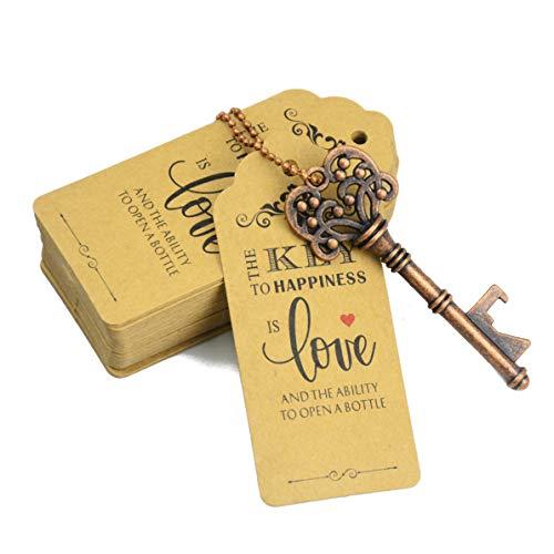 Aokbean 52pcs Vintage Skelett Schlüssel Flaschenöffner Hochzeits Geschenk Set mit Danke Tag und Schlüsselbund(Antikes Kupfer)