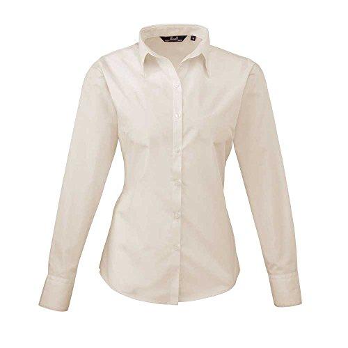 Premier Womens Poplin Long Sleeve Formal Work Blouse Shirt Natural