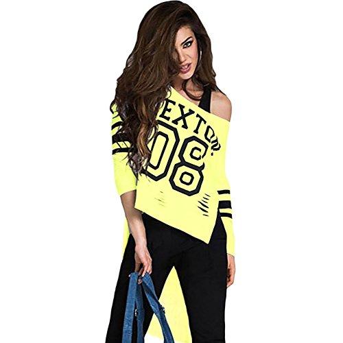 meinice Stampa Elegante Rosa a maniche lunghe Retro Shirt Yellow Small