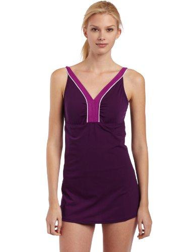 Speedo Damen Endurance Aquatic V-Ausschnitt Schwimmen Kleid, damen, (Badeanzug Skirted Lange)