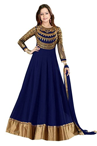 Designer Blue Colour Partywear Unstitched Dress Material With Embroidered Work MFD-3