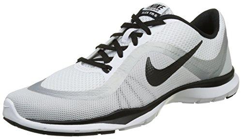 Nike Damen Flex Trainer 6 Hallenschuhe, Weiß (Blanc/Platine Métallisé/Noir), 38 EU