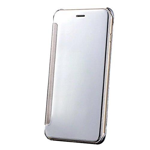 Cuitan Luxus Electroplate Spiegel PC Flip Hülle (PU Leder Verbinden) für Apple iPhone SE, Mode Kreative Entwurf Plating Mirror PC Hart Schutzhülle Handyhülle Handytasche Tasche Case Cover - Rose Gold Silber