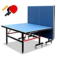 Stansom Professional Foldable Table Tennis Tables, 18mm Tabletop 40mm Legs Ping Pong Table with 2 Rackets 3 Balls & Quick Clamp Net - 10 Minute Easy Assembly