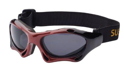 Subke 7039 Lunettes de soleil de sport Noir - rot schwarzer Rahmen, schwarze Gläser