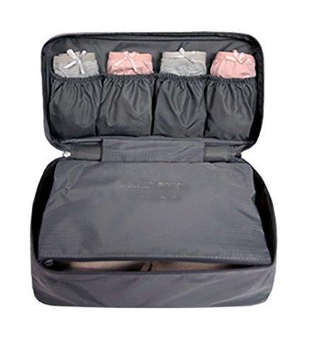 Urlaub Reise Tasche Multifunktional Organizer für Make-up Toilettartikel Unterwäsche BH (Grau)