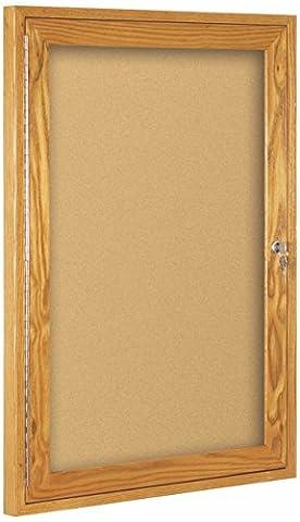 Best-Rite Wood Trim Enclosed Bulletin Board Cabinet, 1 Hinged Door, 24H x 18W, Natural Cork, Oak Frame (94HWA) by