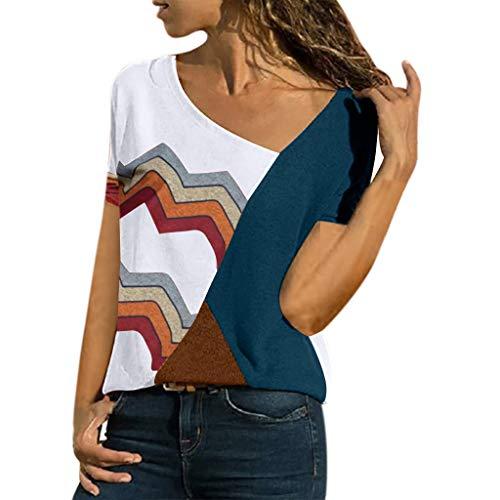 (Fannyfuny Damen Casual Leopard Patchwork Farbblock Langarm T-Shirt Asymmetrischer V-Ausschnitt Langarmshirt Tops Sweatshirt Tunika Top Pullover Bluse Oberteil)