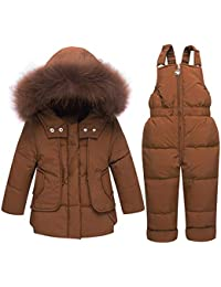 15d3588ee Nieve Invierno Ropa Set Baby Toddler Girls Boys Winter Snowuit cálido  Sólido de dos piezas Desmontable con capucha Zip Puffer Chaqueta…