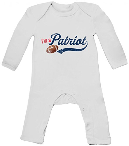 I'm a Patriot #1 Babybody American Football Super Bowl Pats, Farbe:Weiß (White BZ13);Größe:3-6 Monate -