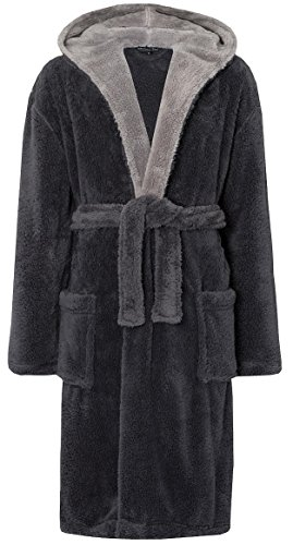 MICHAEL PAUL Men's Hooded Soft Snuggle Fleece Dressing Gown Grey / grey